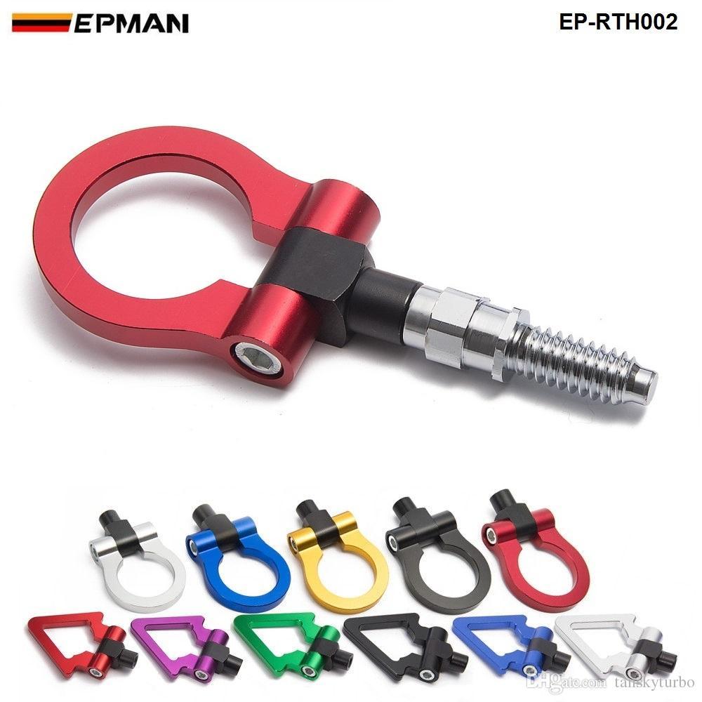 EPMAN CARレーシングビレットアルミニウム牽引フック前部BMWヨーロッパの車の円形/三角形EP-RTH002