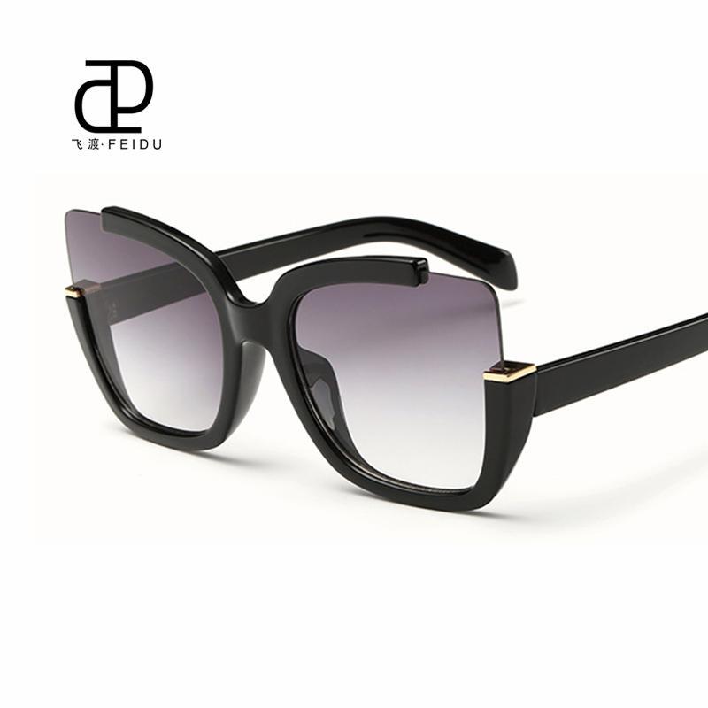 FEIDU 2016 nuovo sexy di gatto occhiali da sole occhi Donne rivestimento a specchio vetri di Sun per le donne di guida Feminino