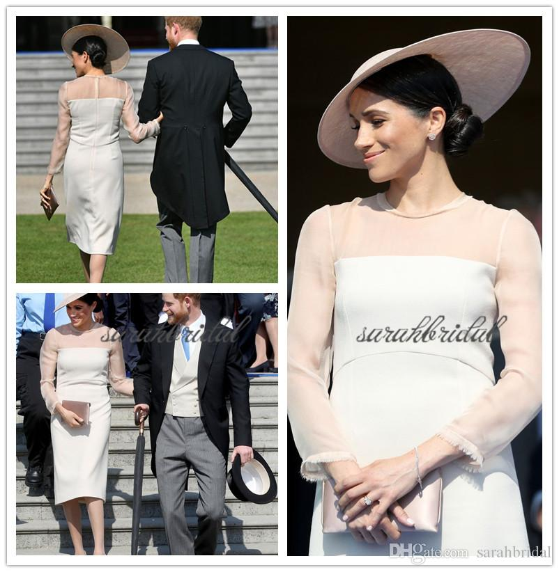 2019 new British Royal wed events Meghan Markle elegant white chiffon and stain party gowns custom made Special Occasion celebrity Dresses