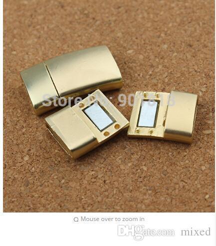 5 pc / lot agujero 11 * 3 mm de aleación de zinc de oro corchetes magnéticos fuertes con tornillo para cordón de cuero plano pulsera de la joyería diy hallazgos f2427