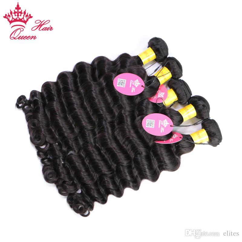 Королева перуанский волос естественная волна 5шт / серия машина Double Virgin волос Уток 100% человеческих волос Weave Пучки 10 «-28» Natural Color Бесплатная доставка