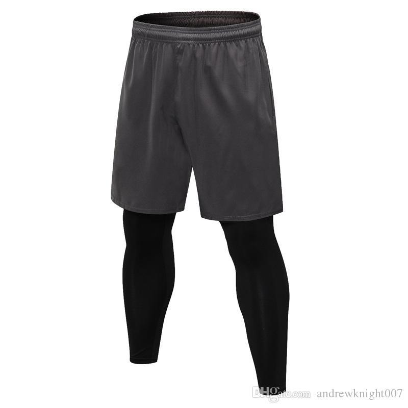 Uomini Sport Casual 2 in 1 falso in due pezzi Pantaloni pantaloni corti Leggings per Fitness esecuzione Yoga DK7721KSG