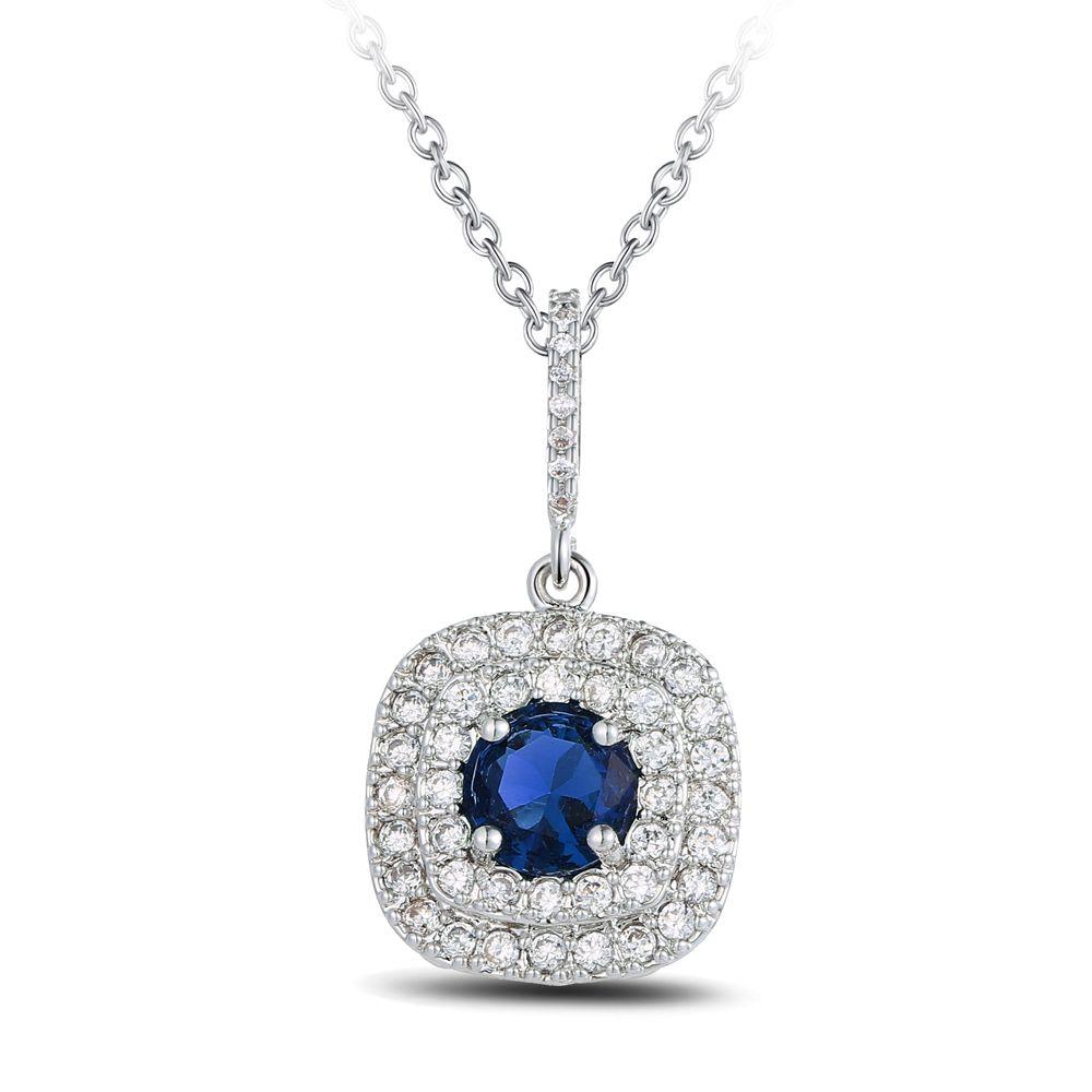 Piedra de corte de cojín con Tiny CZ Cristal envolvente Oro blanco Collares de las mujeres Colgantes 2 colores N10001
