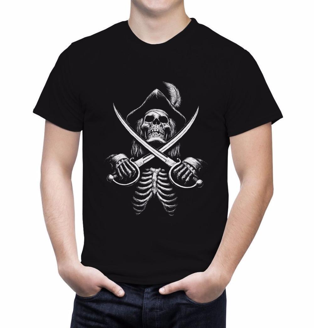 2018 New Fashion Brand Band T Shirts Pirate Skull Cross Swords Tshirt Booty Skull And Cross Bones Pirate Treasure Tee Shirt