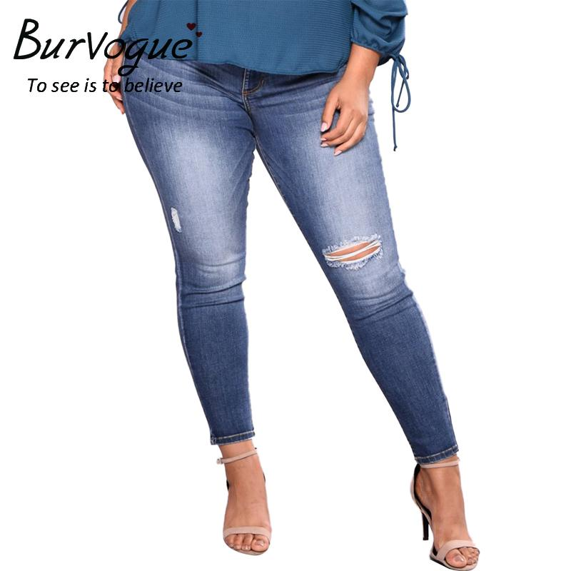 Burvogue Plus Size 6XL Ripped Hole Washed Denim Ripped Jean Butt Lifting Skinny Jeans Stretch Pencil Pants Full Length Jeans