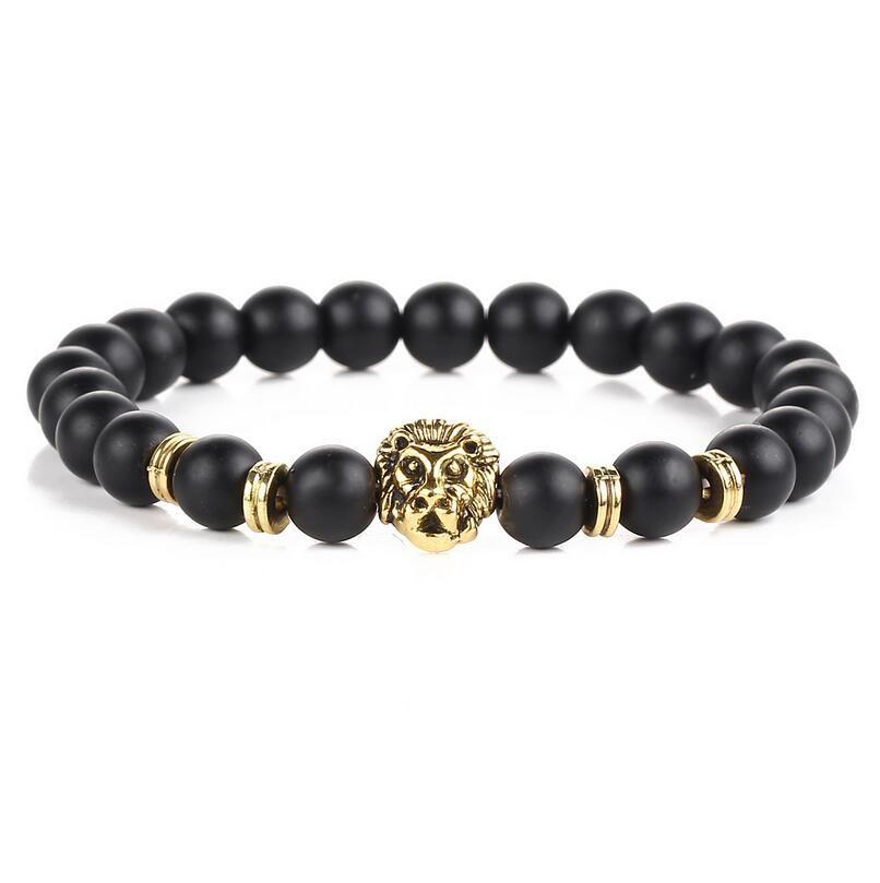 Black Lava Natural Stone Gold Color Lion strand Bracelet Femme Ethnic Handmade Beads Bracelets Turkish Men Jewelry