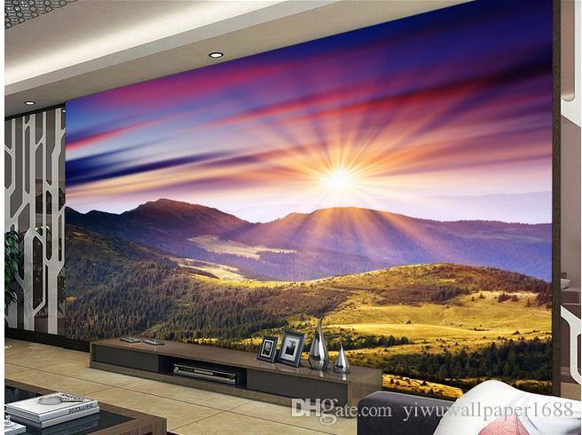 Фиолетовый утренний накал, альпийские пейзажи, декоративная роспись 3d обои 3d обои для тв фоне