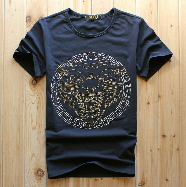 2021 Мода мужской синий цвет короткая футболка тигр роскошный алмазский дизайн повседневная хлопчатобумажная с коротким рукавом футболки бренд хип хмель хлопок о-шеи топы мужская белая мода