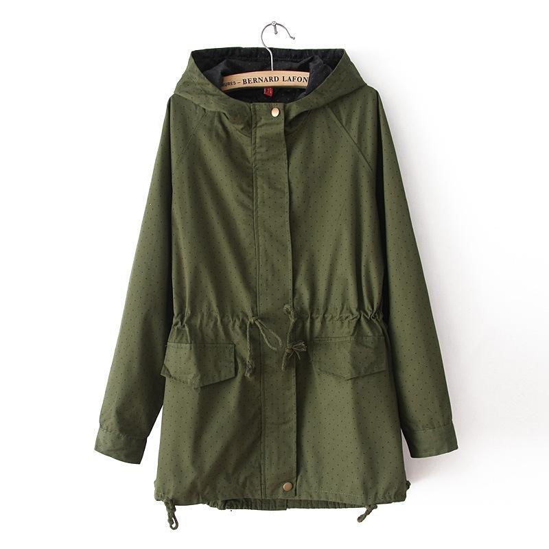 Женщины женские пальто плюс размер 2021 женские пальто весна осень милый горошек с капюшоном капюшон повседневная ветровка мода JA568