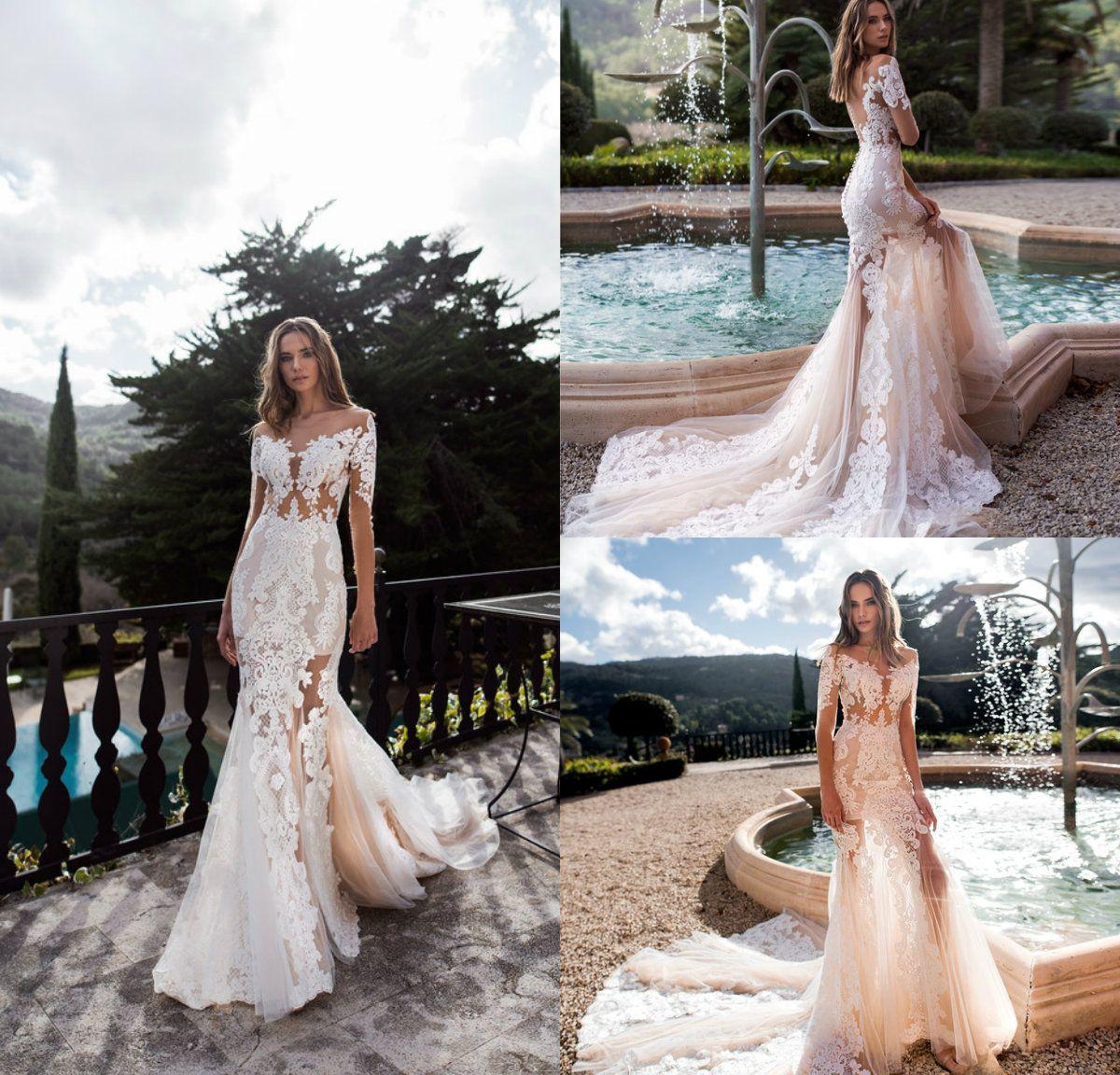 Full Lace Mermaid Wedding Dresses Sheer Jewel Neck Sweep Train Long Sleeve Wedding Dress Tulle Custom Made Illusion Sexy Bridal Gowns