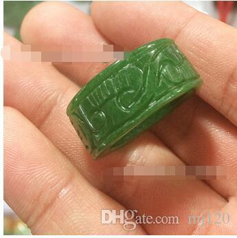 Natürliche Jade Myanmar Green Iron Drache geschnitzt Jade Ring Männer und Frauen Kaiser grünen voll grünen Zugring