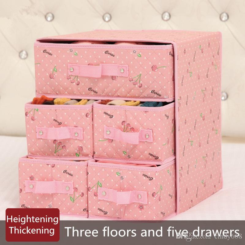 Lovely Underwear Storage Box Fabric 3 Floors 5 Drawers Storage Boxes Socks Bra Finishing Boxes 34x31x37cm Closet Organizer Cajas Suitcase