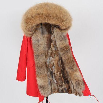 pelliccia di visone marrone Pelliccia nappa Soglia marca maomaokong donne e uomini cappotti da neve marrone volpe e pelliccia di coniglio fodera rosso lungo parka