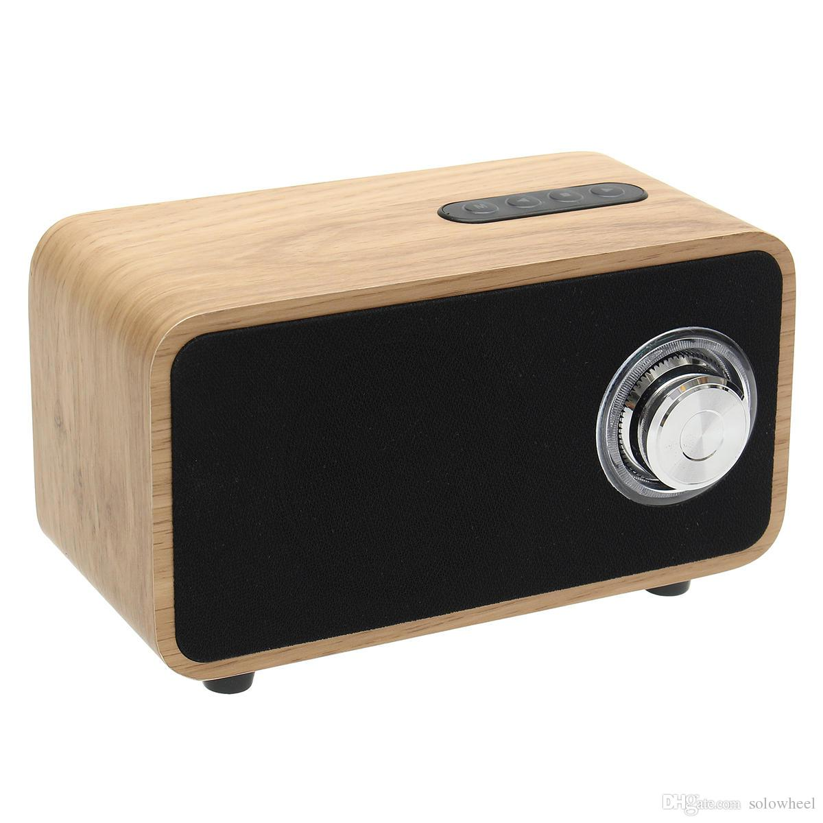 Larger capacity 2200mAh DC 5V Digital Multimedia Speaker Bluetooth MP3 FM Radio Wooden Brown wireless hifi subwoofers for computer/TV