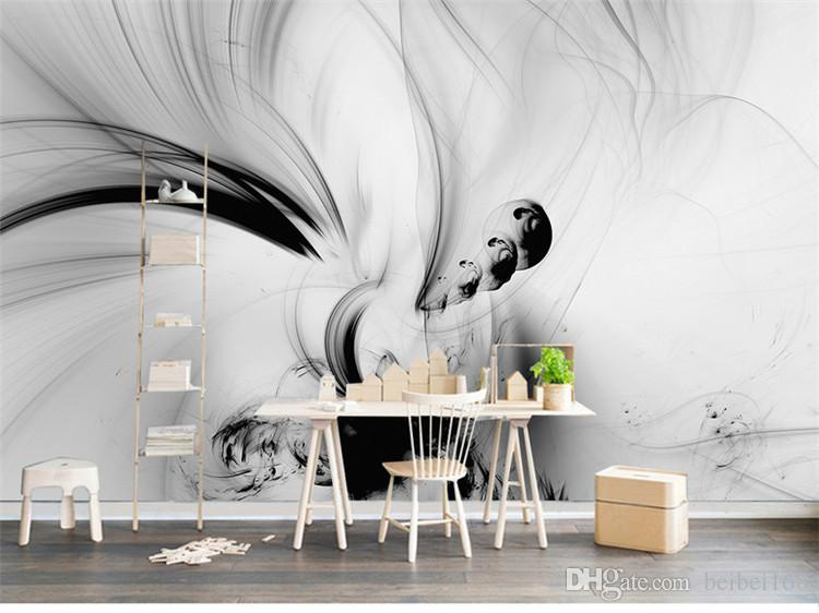 3d Abstract Wall Murals Black White Lines Stripe Hd Photo Paper
