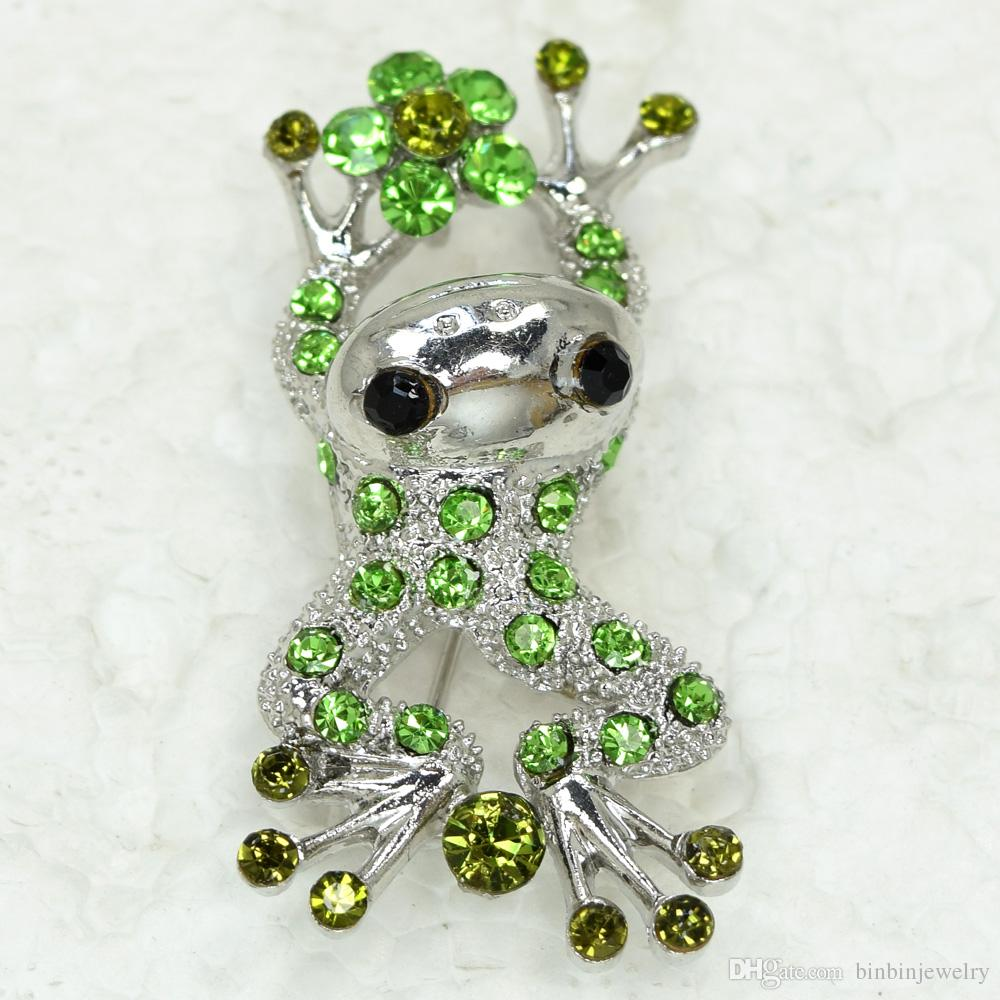 Wholesale Crystal Rhinestone Frog Brooches Fashion Costume Pin Brooch jewelry gift Accessories C856