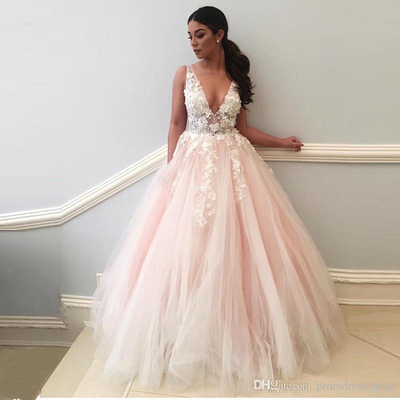 Compre Vestidos De Noche Largos Y Elegantes 2019 Cuello En V Profundo 3d Flores Apliques De Encaje Vestido De Fiesta Rosa Mujeres Vestidos De Noche