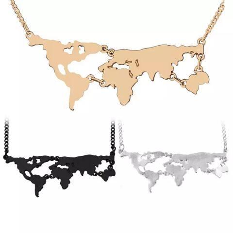 Globe World Atlas World Map Pendant Necklaces Necklace Silver Gold Black Pendants for Women Girls statement jewelry MOQ 30 pcs