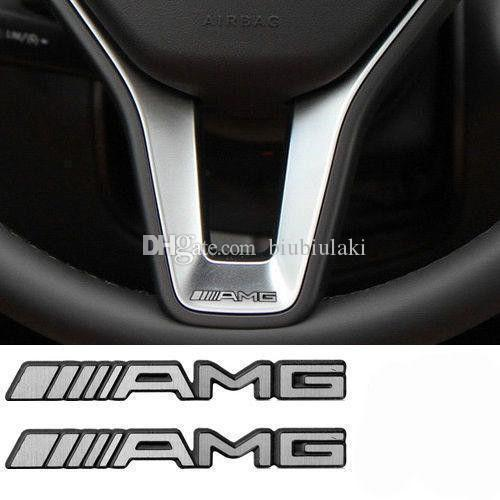 Brand New Alloy ALUMINIUM AMG Steering Wheel Sticker Badge Logo Emblem S66 Free shipping