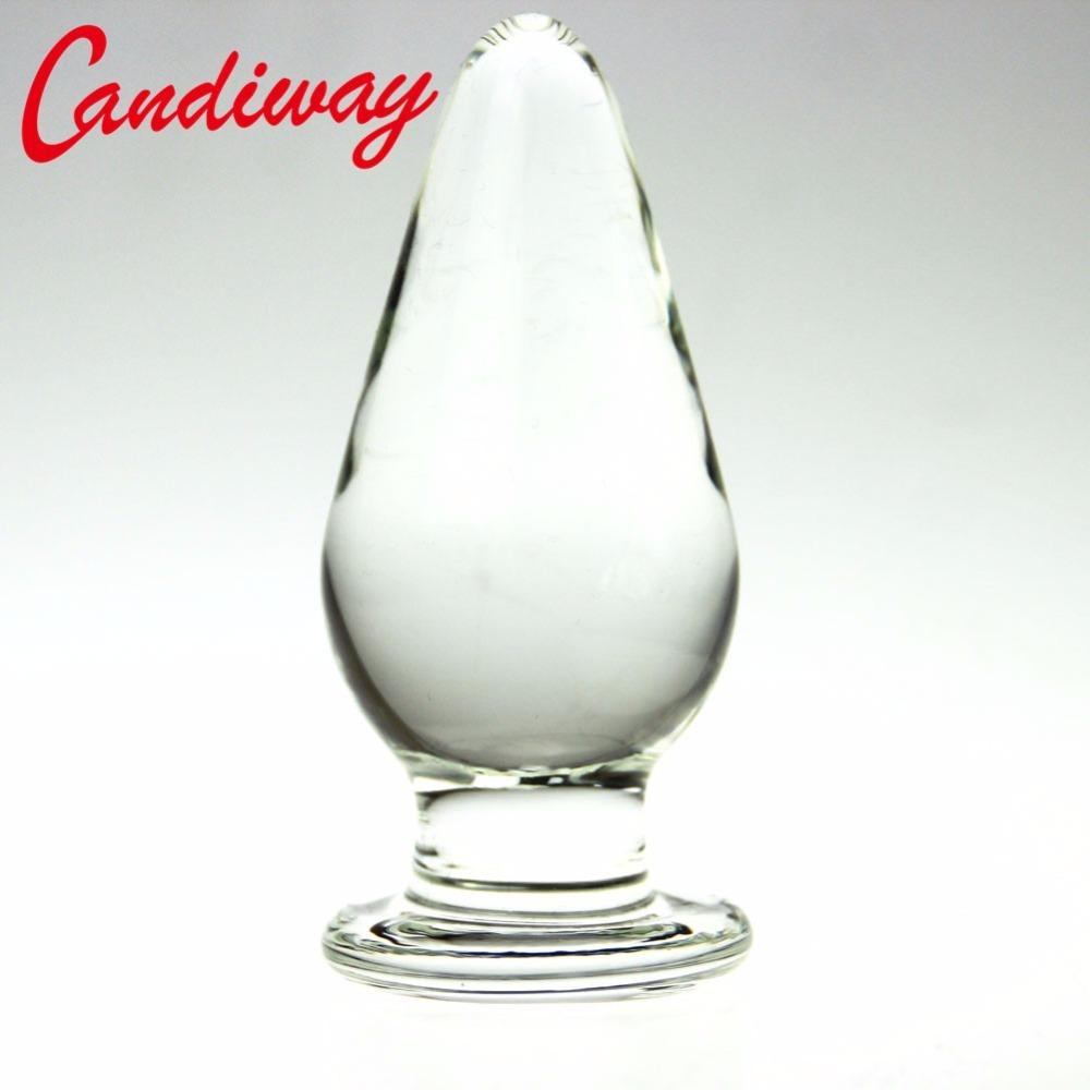 Huge Glass plug anal sex toys for woman lesbian G SPOT squirt Crystal BIG BULLET BUT anal prostate stimulator anus BUTTplug D18111502