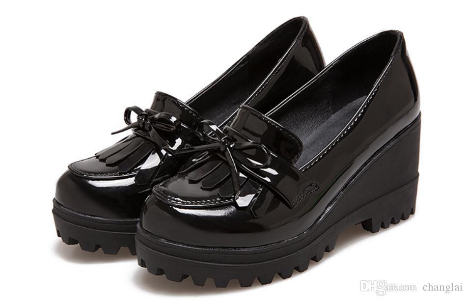 Grátis enviar 2017 primavera e outono novo estilo de salto alto Slope calcanhar sapatos de fundo grosso das mulheres