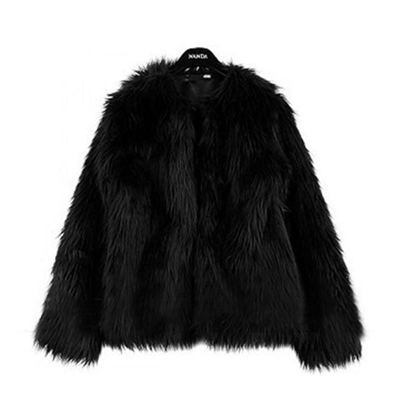 Abrigo de piel gruesa de las señoras calientes de lujo 2017 de invierno mullido de la piel falsa chaqueta de manga larga Faux de las mujeres Escudo Fourrure Femme