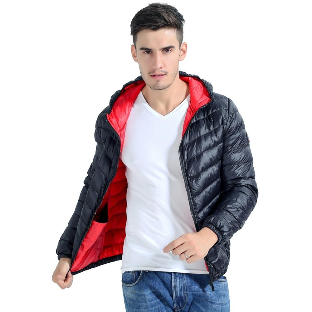 Frieed Mens Warm Packaged Compressible Lightweight Winter Long Hooded Down Jacket