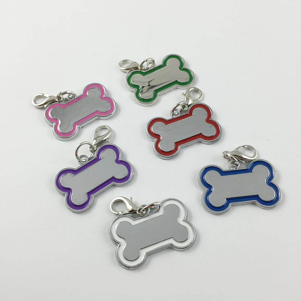 30 unids / lote Creativo lindo de Acero Inoxidable de Hueso en Forma de DIY Perro Colgantes Etiquetas de Tarjeta Para Collares Personalizados Accesorios Para Mascotas