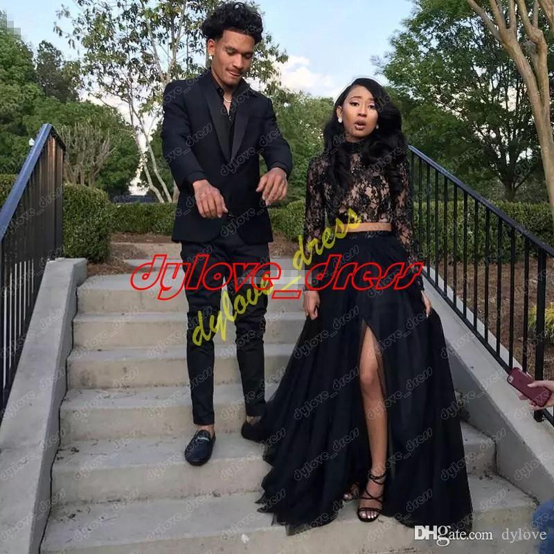 Vestido Longo Vestido De Festa sexy plus Größe schwarz formale Abend langärmeliges Kleid zwei Stück Ballkleider 2018 lang