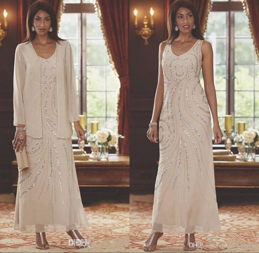 Elegant V Neck Chiffon Mother's Dresses Two Pieces Beaded Wedding Guest Ankle Length Mother Of the Bride Dresses With Long Sleeves Jacket