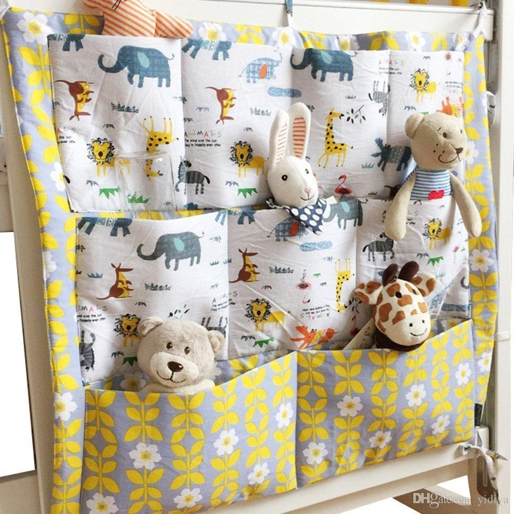 3pcs/lot Bed Hanging Storage Bag Baby Cot Bed Brand Nursery Diaper Cotton Crib Organizer 55*60cm Toy Diaper Pocket for Crib Bedding Set