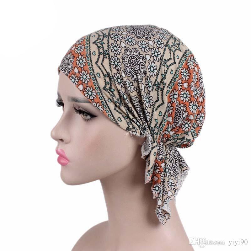 Mujeres musulmanas Envoltura del pelo Giro elástico Gorro de algodón plisado Turbante Sombrero Cáncer Chemo Cap Bufanda pre-atada Accesorios para el cabello