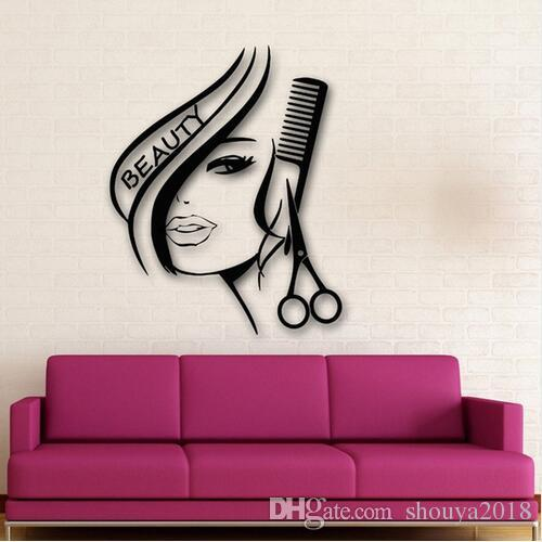 Free shipping Sexy Girl Wall Stickers fashion Hair Beauty Salon Barbershop Sexy Girl Advertising Wall paper