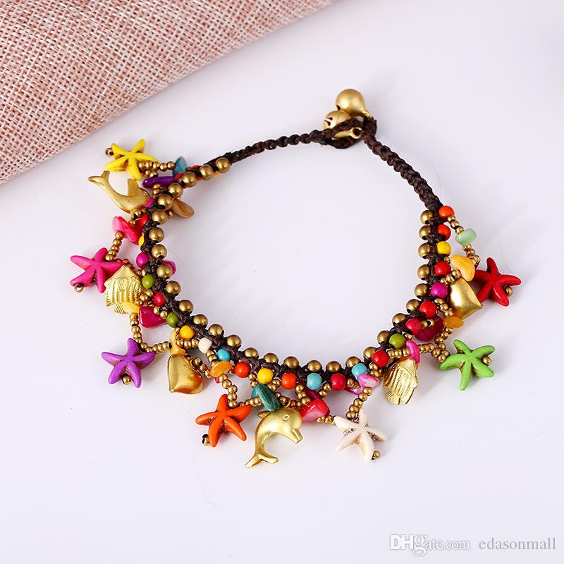 Retro Bohemian Starfish Anklet Bell Weave Summer Beach Anklet Charms Adjustable Foot Chain Jewelry Accessories Beaded Anklet Gift H567F