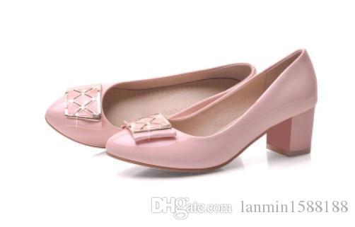 Invia libero 2018 autunno nuovo stile tondo tacco medio tacco alto coreano tallone bocca superficiale scarpe da donna