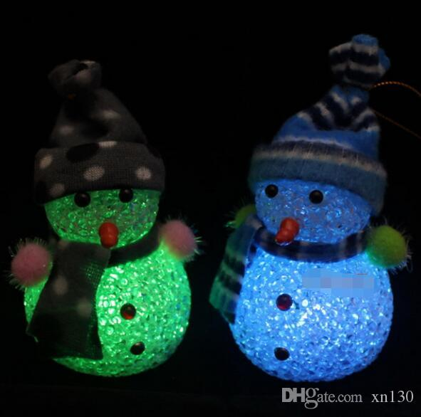 1PC Christmas Decoration Color Changing LED Snowman New Year Decorations Mood Lamp Night Light Xmas Tree Hanging Ornament