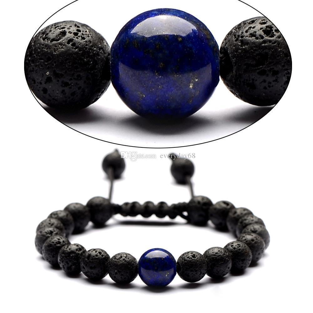 7 Chakras Lava Rock pulsera de la cadena del grano Difusor de Aceite Esencial cuerda de Piedra Trenzada Brazalete Para mujeres hombres Joyería de Moda Artesanía