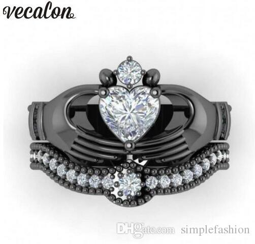 Vecalon 5 Colors Birthstone claddagh ring 5A Zircon Cz Black gold filled Couple wedding Band ring Set for women men Dropshipping