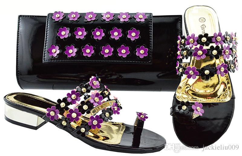 크리스탈과 꽃 장식 아프리카 신발 유행 보라색 낮은 힐 3CM 샌들 드레스 JZC006에 대한 핸드백 세트를 일치