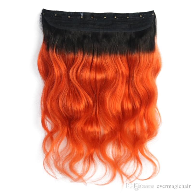 Hot Selling Wholesale 1B/orange Body Wave One Piece Clip In Human Hair Extensions 5Clips With Lace Remy Human Hair