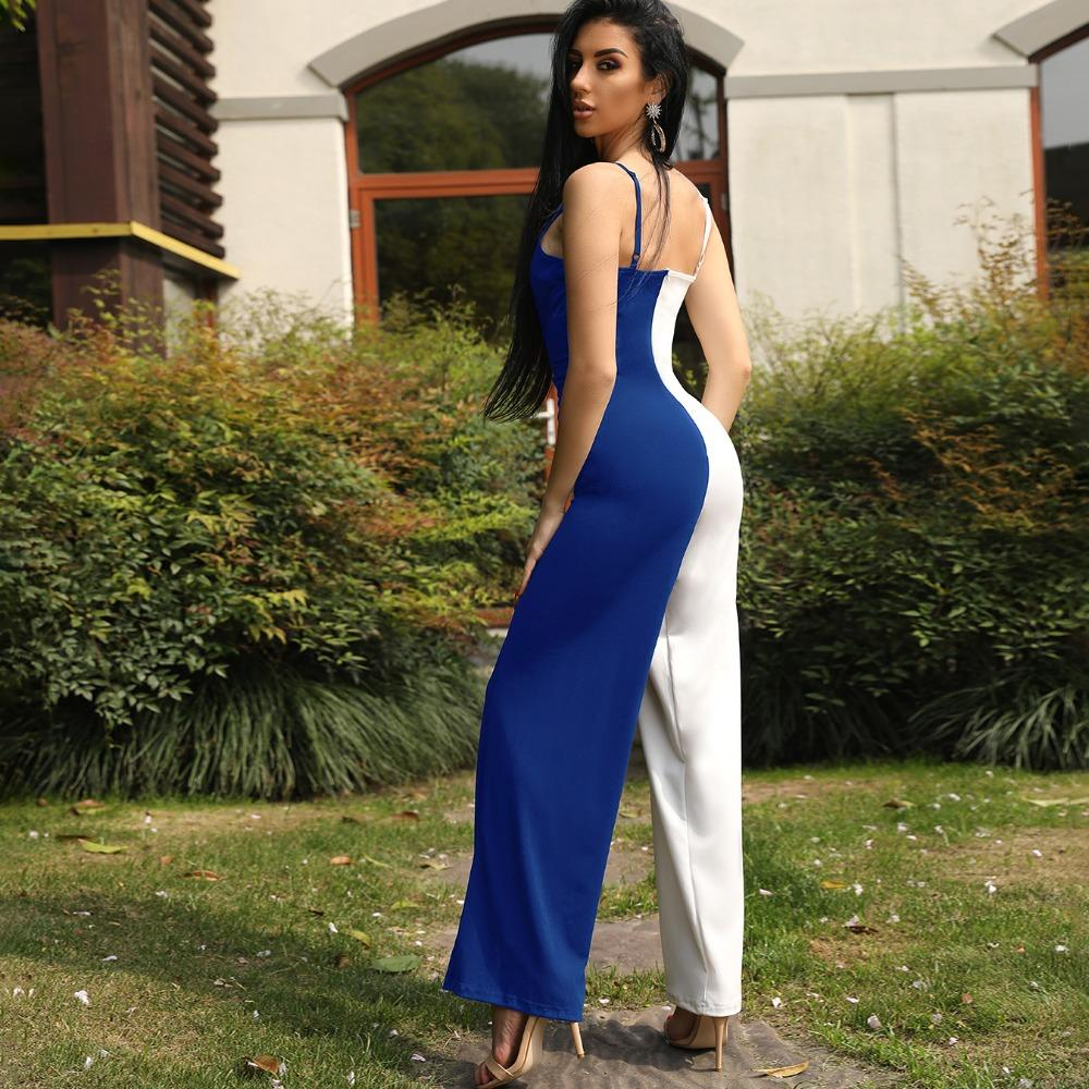 920531d00f6 2019 Women New 2018 Fashion Stylish Patchwork Jumpsuits Female Girls Contrast  Color Spaghetti Strap Wrapped Wide Leg Jumpsuit From Yukime