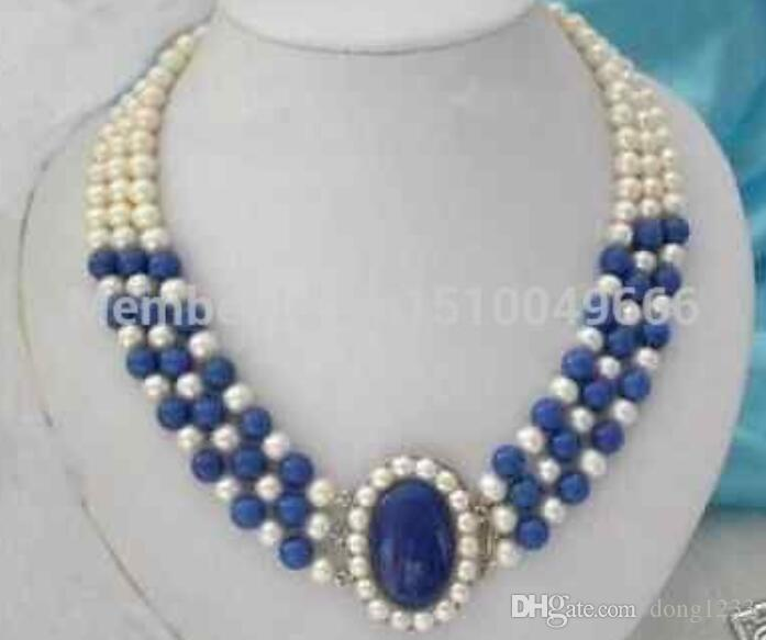 FREE SHIPPING>>3 rows 7-8mm white pearls lazuli necklace 17-19""