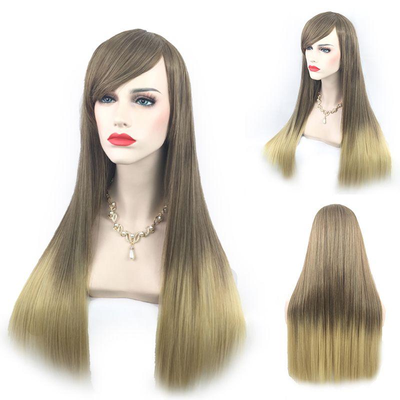 Parrucche per capelli Ombre Parrucche per capelli Ombre Parrucche per capelli anteriori lunghe in pizzo sintetico resistente al calore