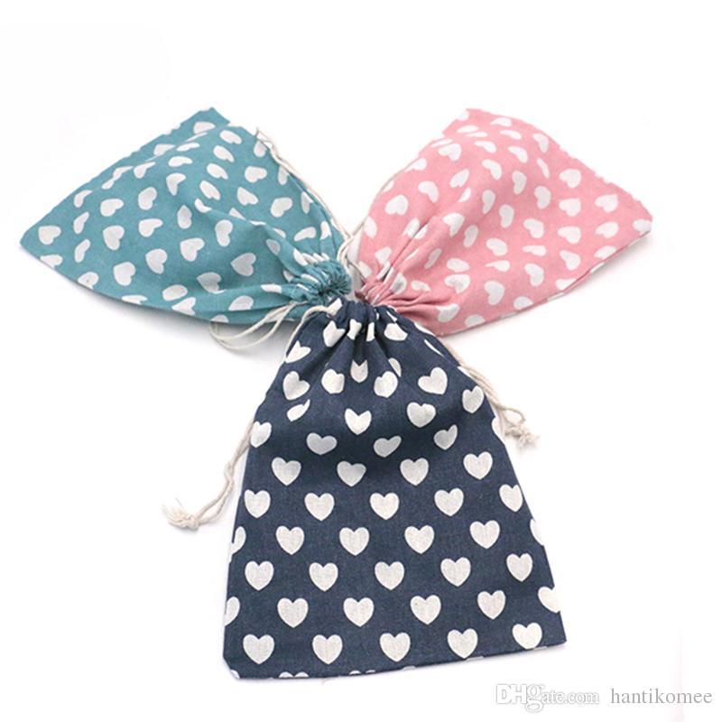 Мода женщины многоразовые Shopping Bag50pcs / lot 19 * 24 см печать унисекс складной хлопок шнурок продуктовые сумки горячие продажа чехол сумка