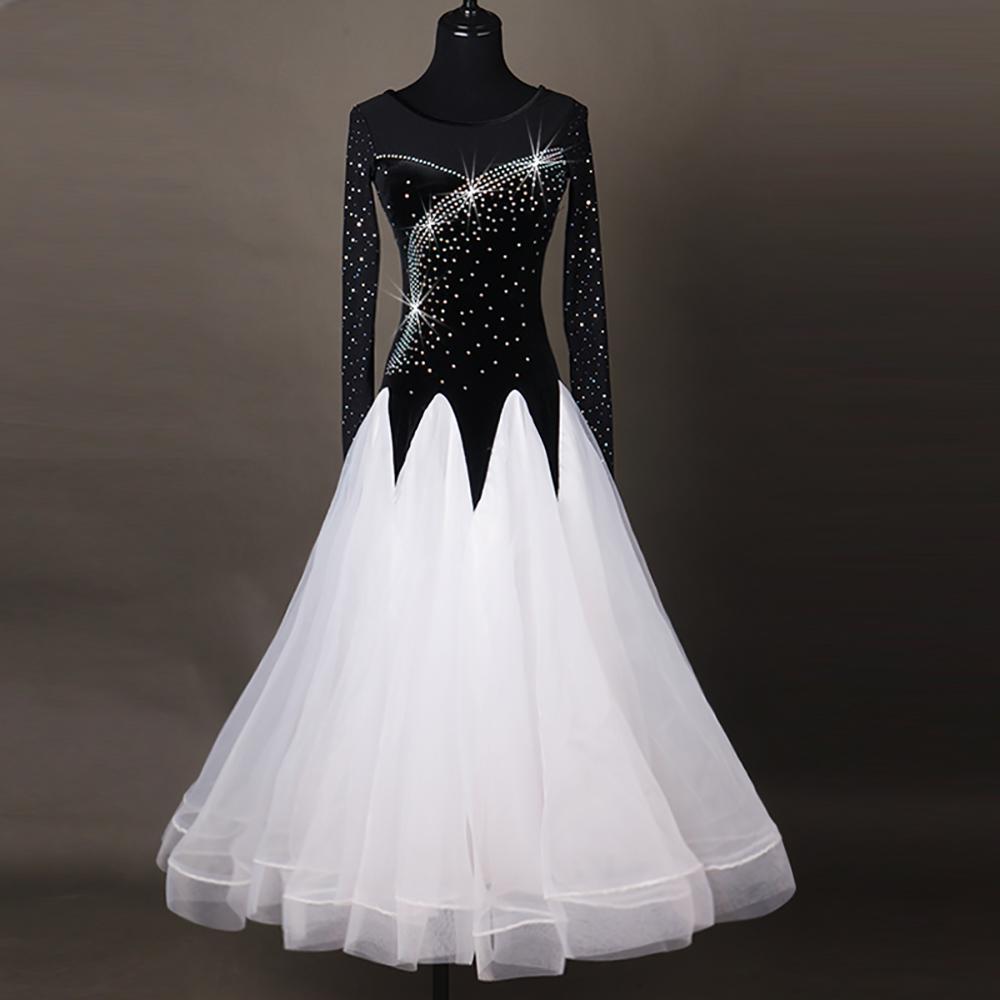 Großhandel Beliebte Modern Dance Kleider Für Dame Schwarz Weiß Farbe  Spitzenrock Kleidung Frau Walzer / Tango / Ballsaal Kleid Moden DQ14 Von