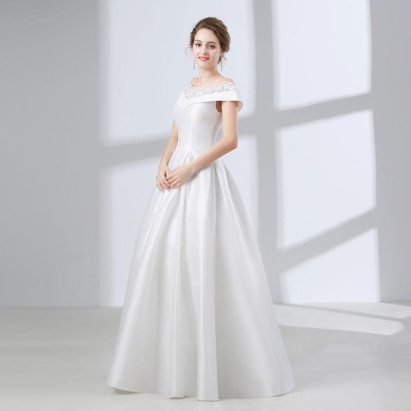 Discount Satin Vintage Wedding Dresses Off Shoulder Korean Simple ...