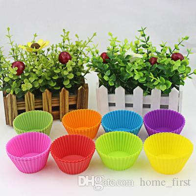 Round 7cm Silica Gel Muffin Cake Cup 8 Color Chocolate Cake Wrappers Cake Decorating Tools Baking Cupcake