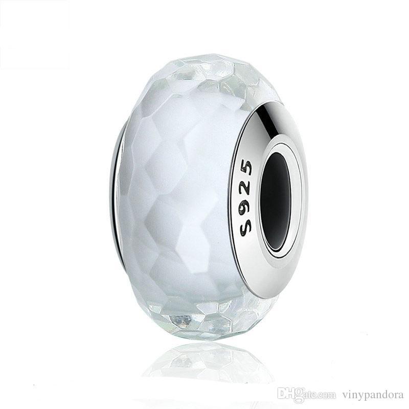 5 stks 925 Sterling Zilver Wit Fascinerende Faceted Murano Glas Kralen Fit Pandora Chamilia Sieraden Charm Armbanden Ketting