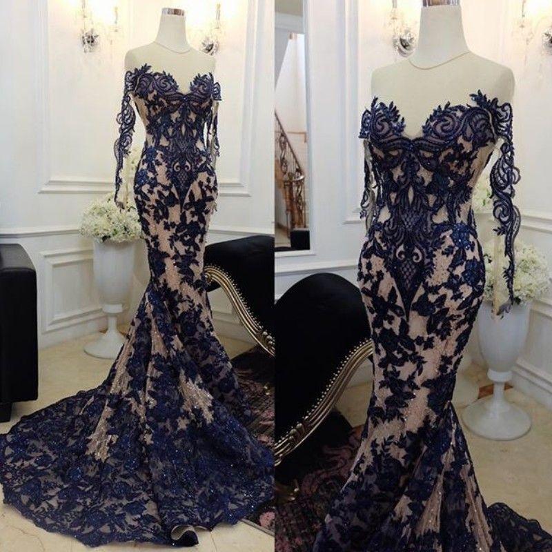 Splendida promettente sirena prom dresses sheer gioiello collo perline pizzo applique manica lunga party dress 2018 sexy vedere attraverso abiti da sera