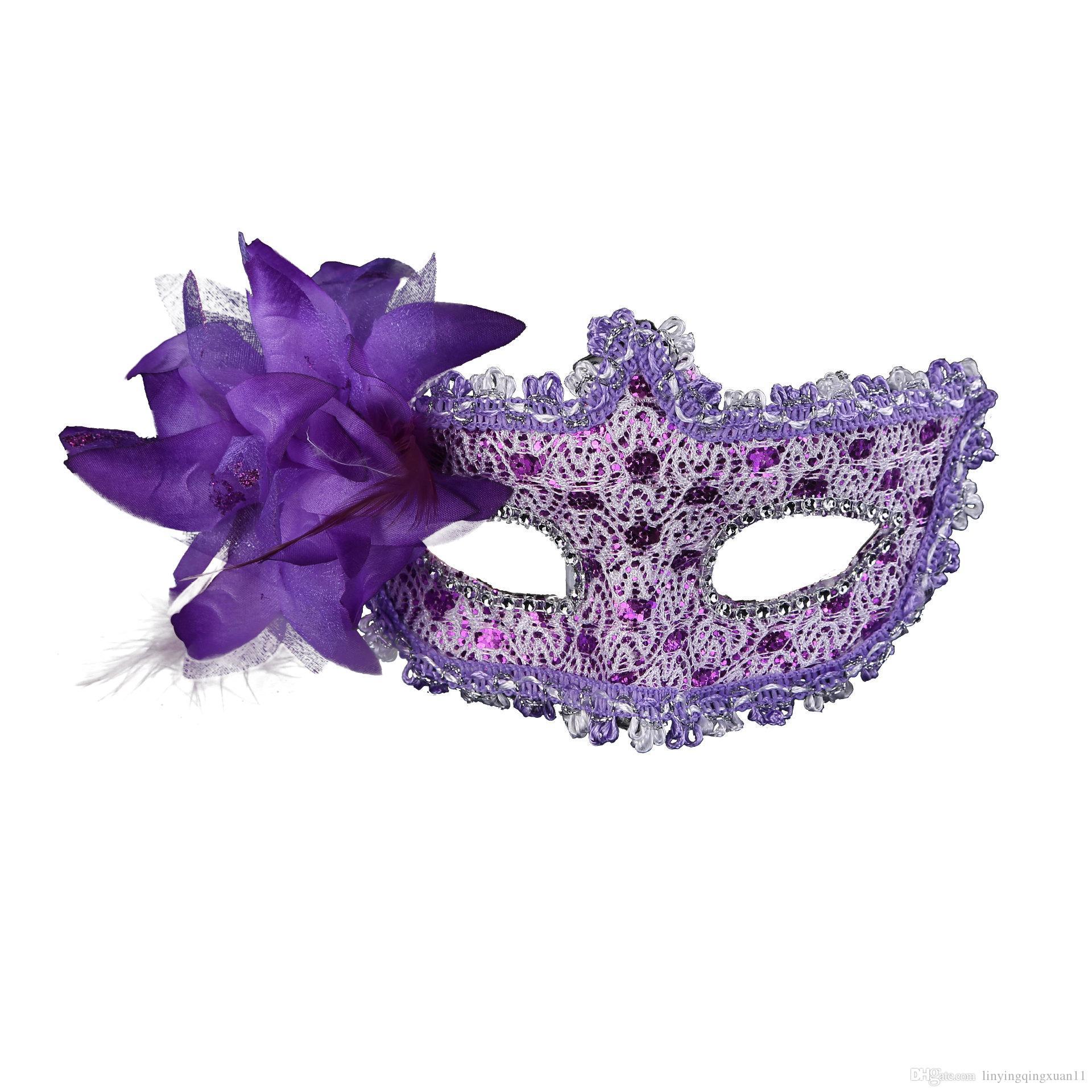 Máscara veneciana de encaje diamante lentejuelas lentejuelas lentejuelas diamante lirio princesa pluma lateral Máscara de disfraces de carnaval Disfraz de bola enmascarada disfraces